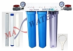 "Three Stage 20"" x 2.5"" Slim Blue Whole House water filter 3/4"" NPT Ports with Pressure Gauge"