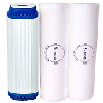 Water Filter Set (UDF Carbon GAC + Sediment Filters 1Micron + 5 Micron) Size 10