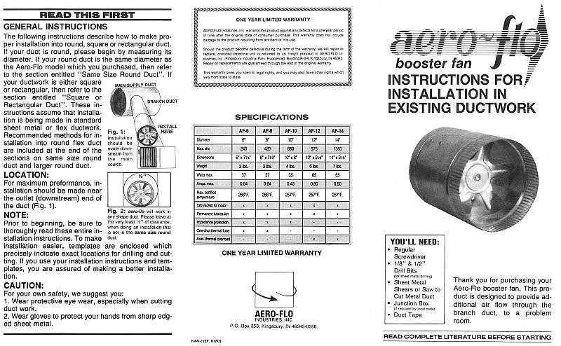 10 u0026quot  in line duct booster fan