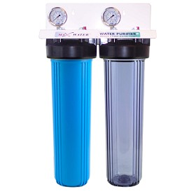 "Two Stage 20""x4.5 Whole House Big Blue Water Filter 3/4"" OR 1"" NPT Ports"