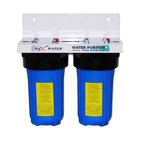 "Two Stage Whole House water filter 10"" x 4.5"" - 3/4"" OR 1"" NPT Ports"