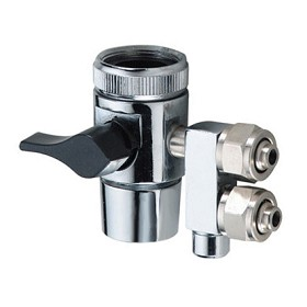 "Two Way Diverter valve 3/16"" barb for 1/4"" Tube, with switch collar andblack handle"