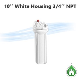"10"" Water filter housing white, 3/4"" NPT with pressure release button - YT3-10WW"