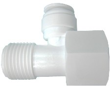 "PVC Feed Water Adapter, 1/2""MIP x 1/2"" FIP, 3/8"" Tube OD Quick"