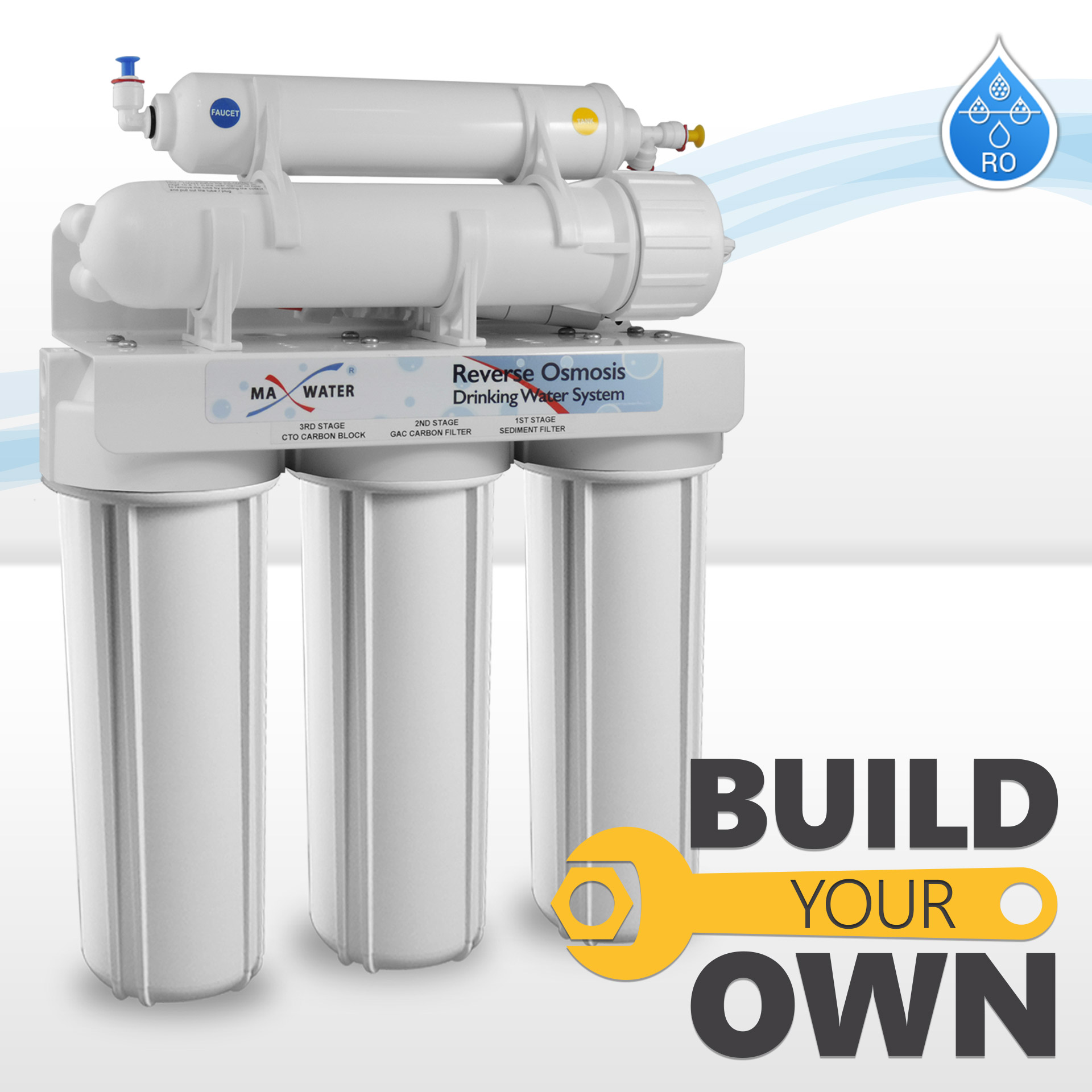 5 Stage Home Drinking RO Water System+50GPD Membrane,PP,CTO,GAC,T33 High Quality