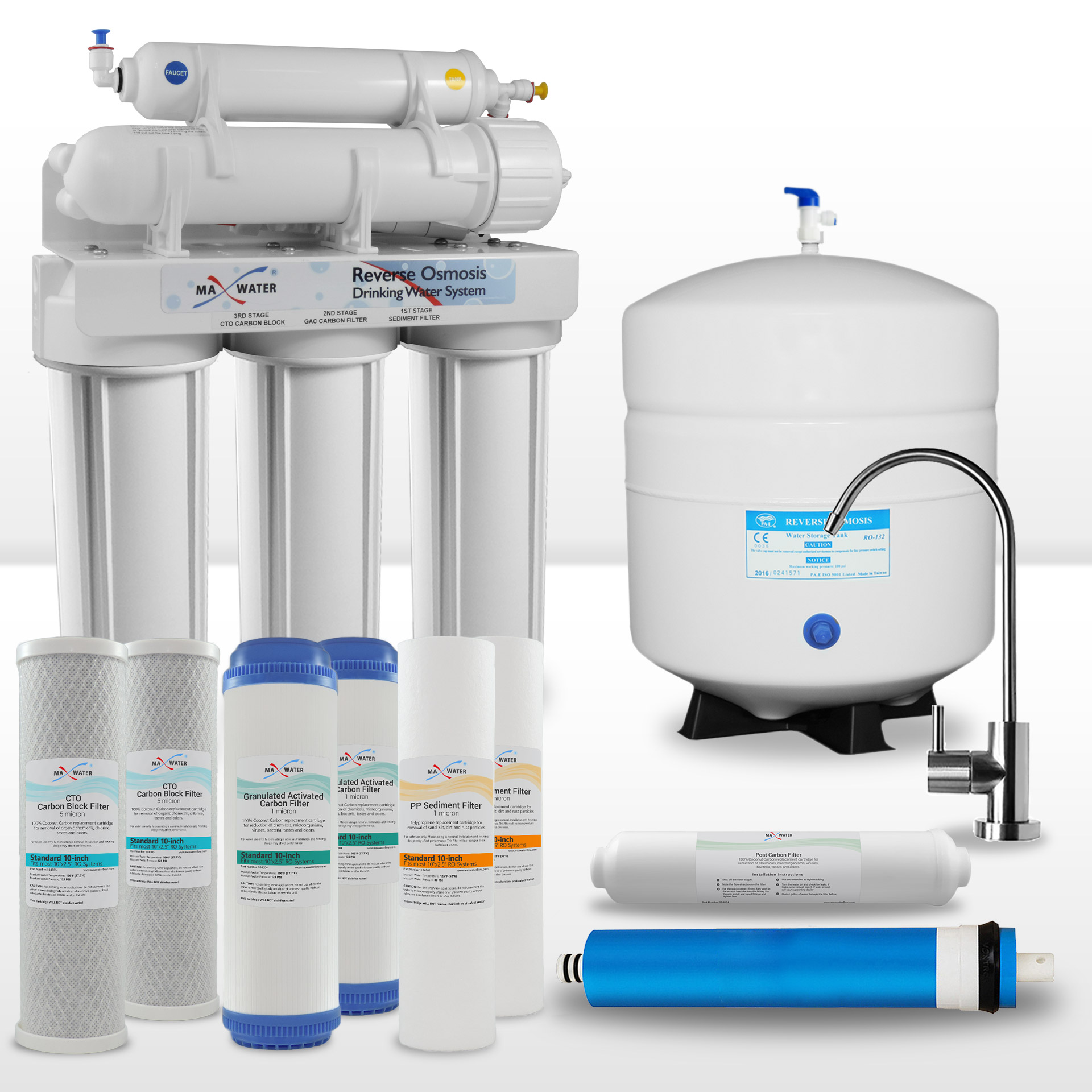 c3ee5bfd8 5 Stage Home Drinking Reverse Osmosis System PLUS Extra Full Set- 4 ...