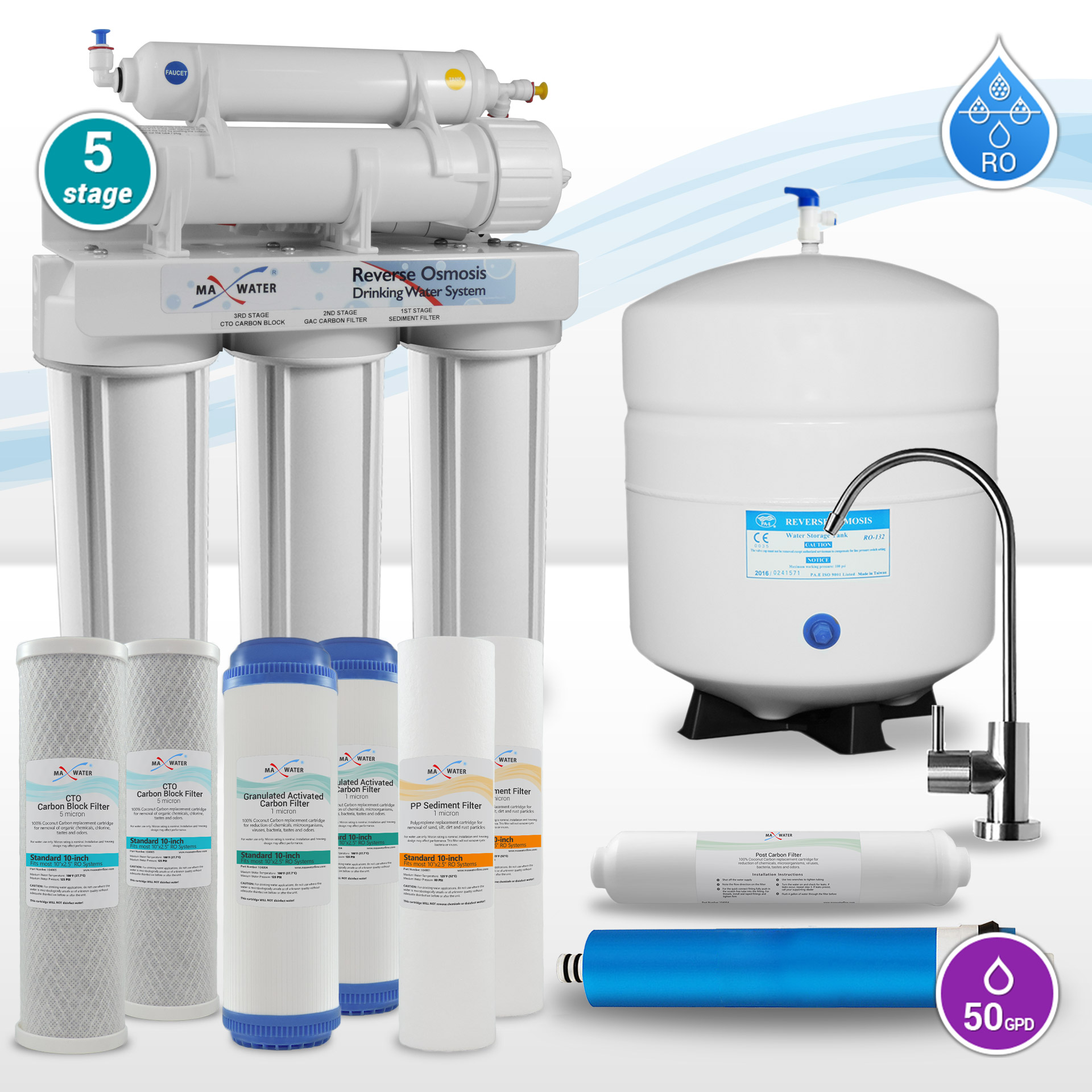 96f0caab1a3 5 Stage Home Drinking Reverse Osmosis System PLUS Extra Full Set- 4 ...