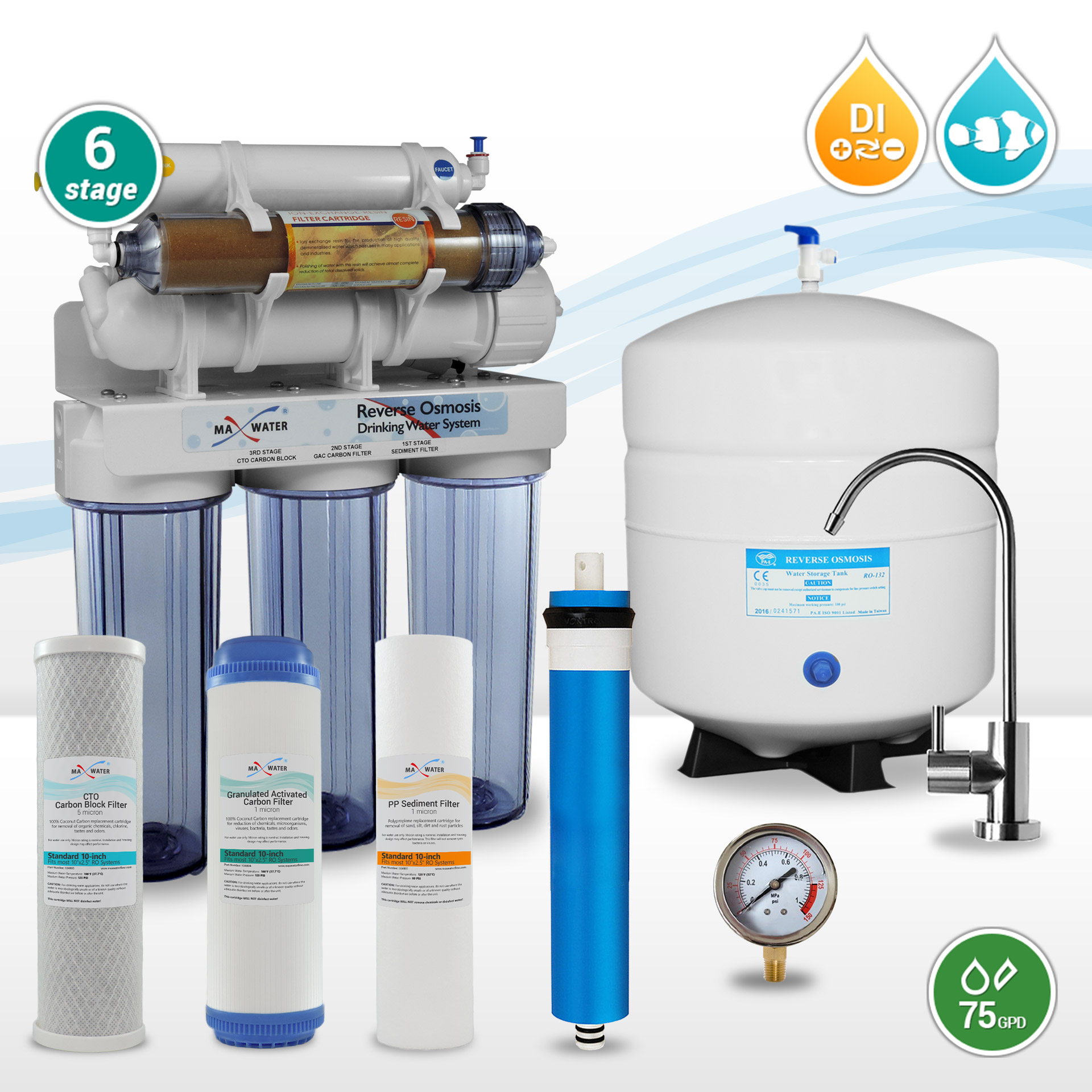 6 stage 75 GPD Dual Reef Aquarium & Drinking Reverse Osmosis Water
