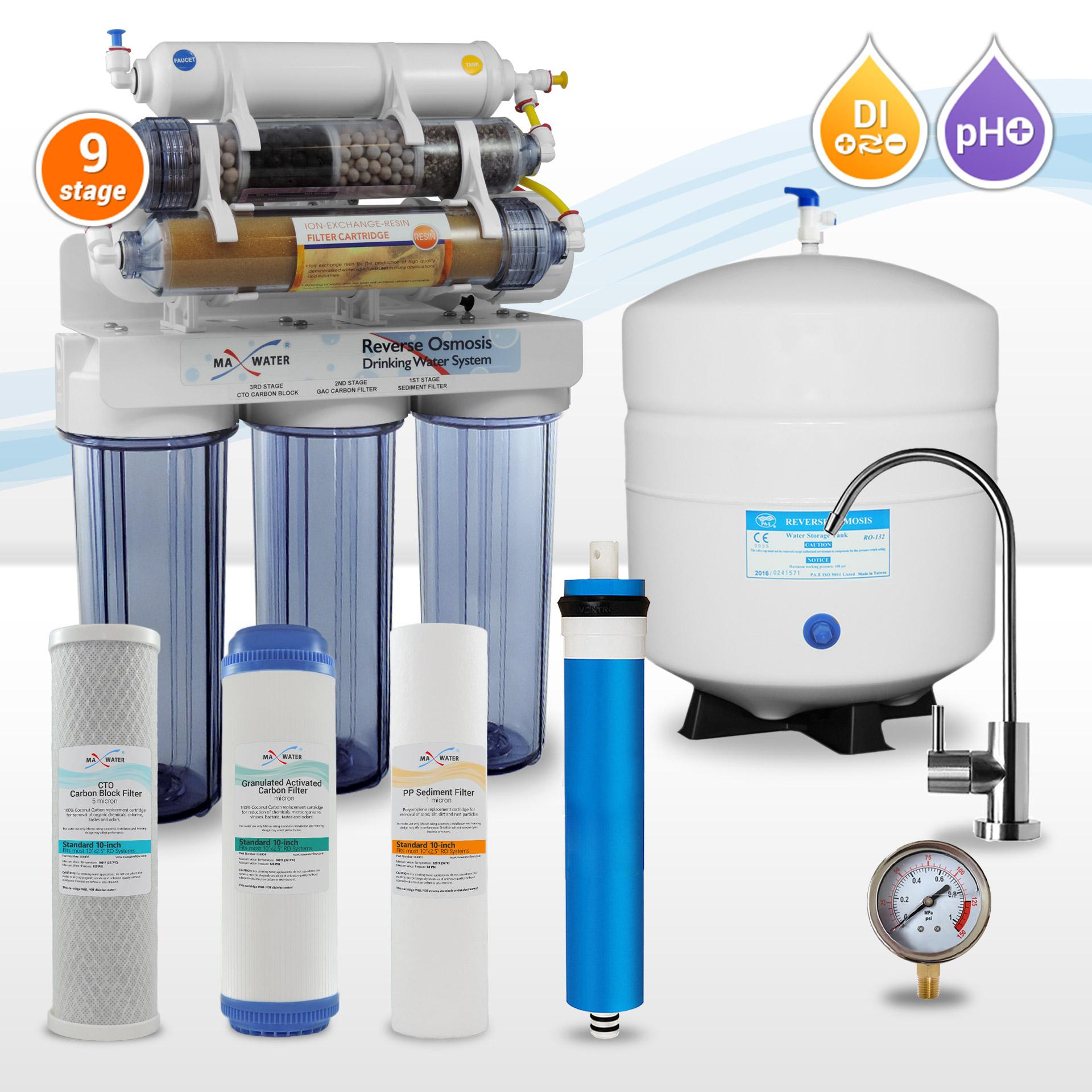 Alkaline Reverse Osmosis Bundle 100GPD Bulk Filters 3 year Supply Brushed Nickel
