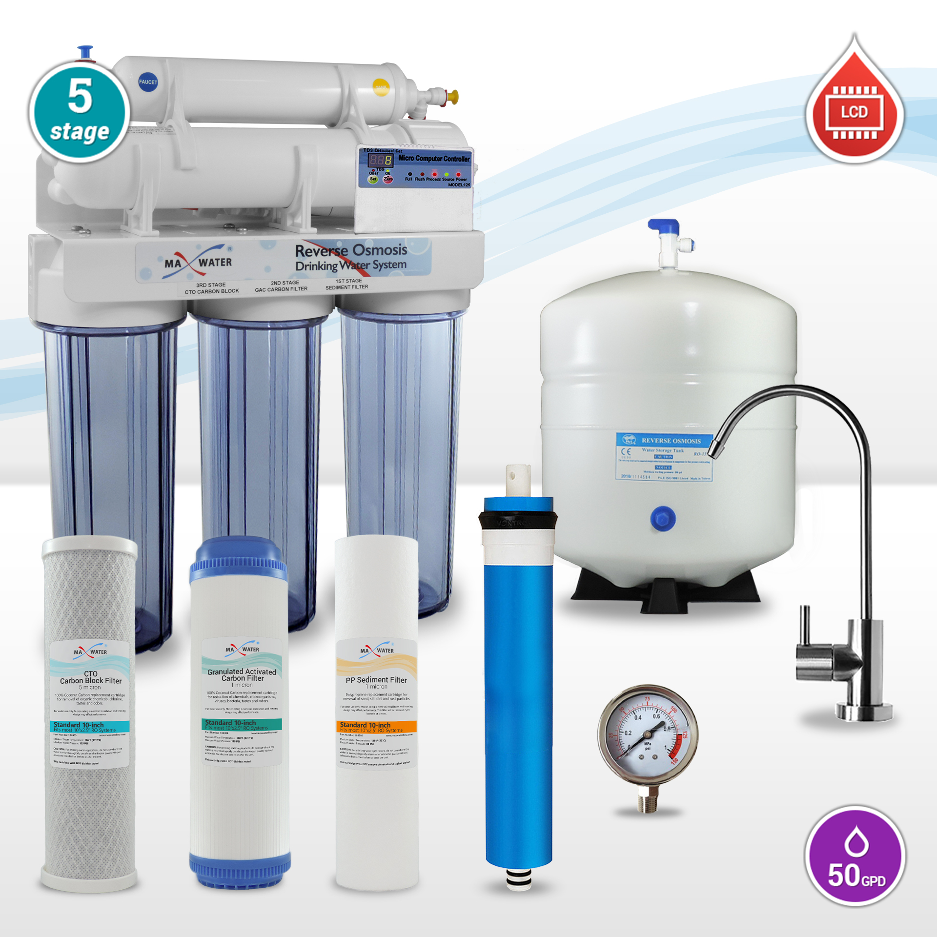 5 Stage Lcd Reverse Osmosis System Automatic Self Flushing