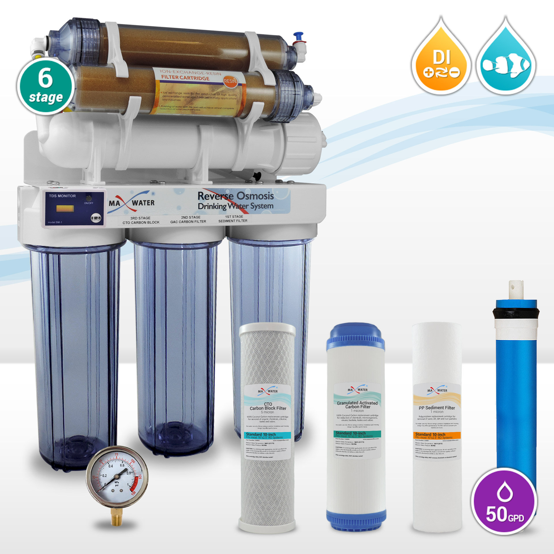 6 stage Aquarium Reverse Osmosis System RO DI with HM Inline TDS