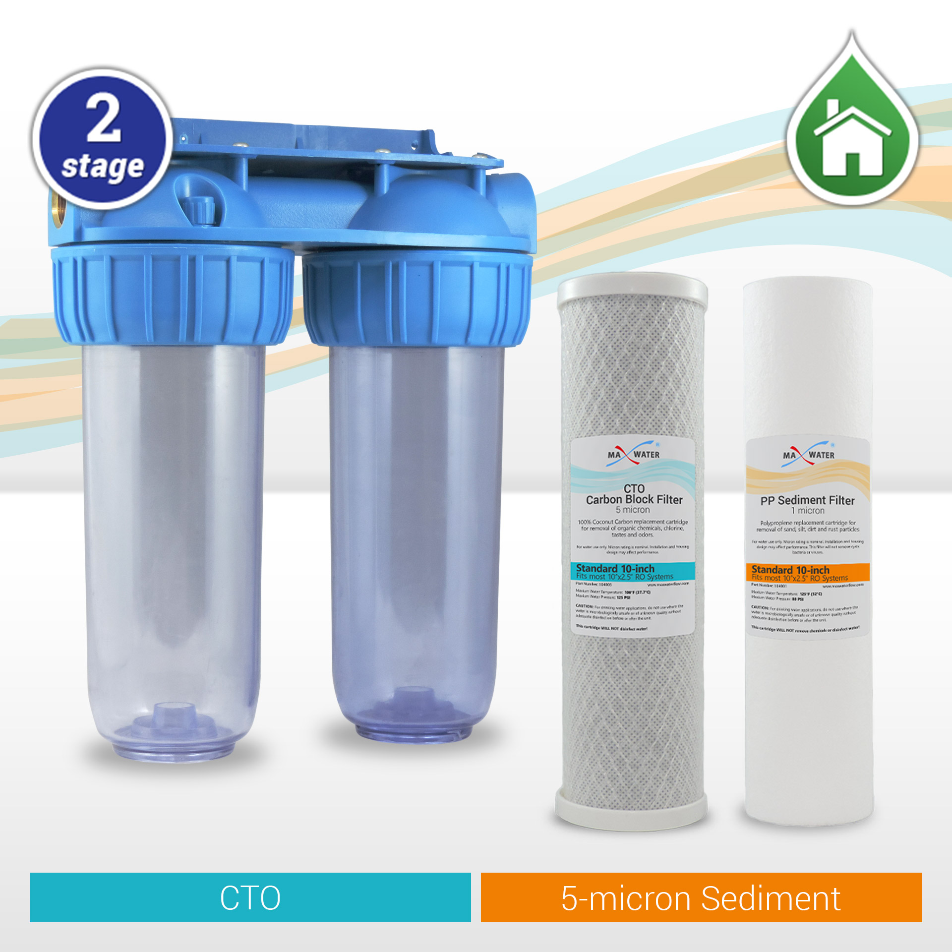2 pc RO Replacement 5 micron PP sediment and 5 micron Carbon block filter