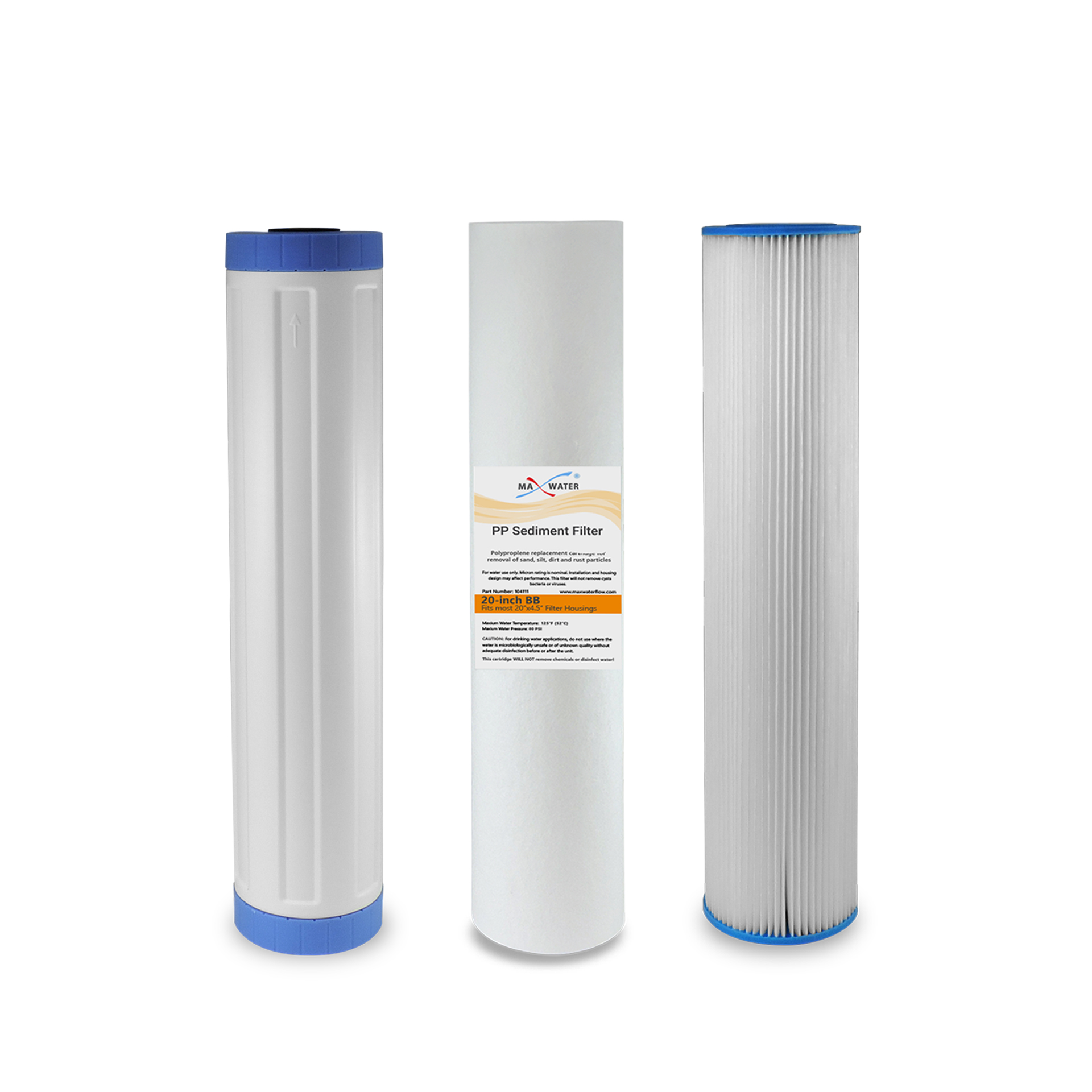 Max Water Whole House Water Filter Replacement Set Pleated GAC Sediment