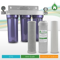 "3 Stage 10"" Standard Anti-Scale Whole House Water Filtration System w/ 2 Pressure Gauges"