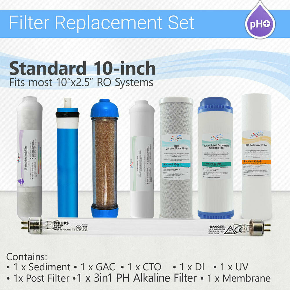 Max Water Alkaline Mineral Reverse Osmosis Water Replacement Filter Set 8Filters