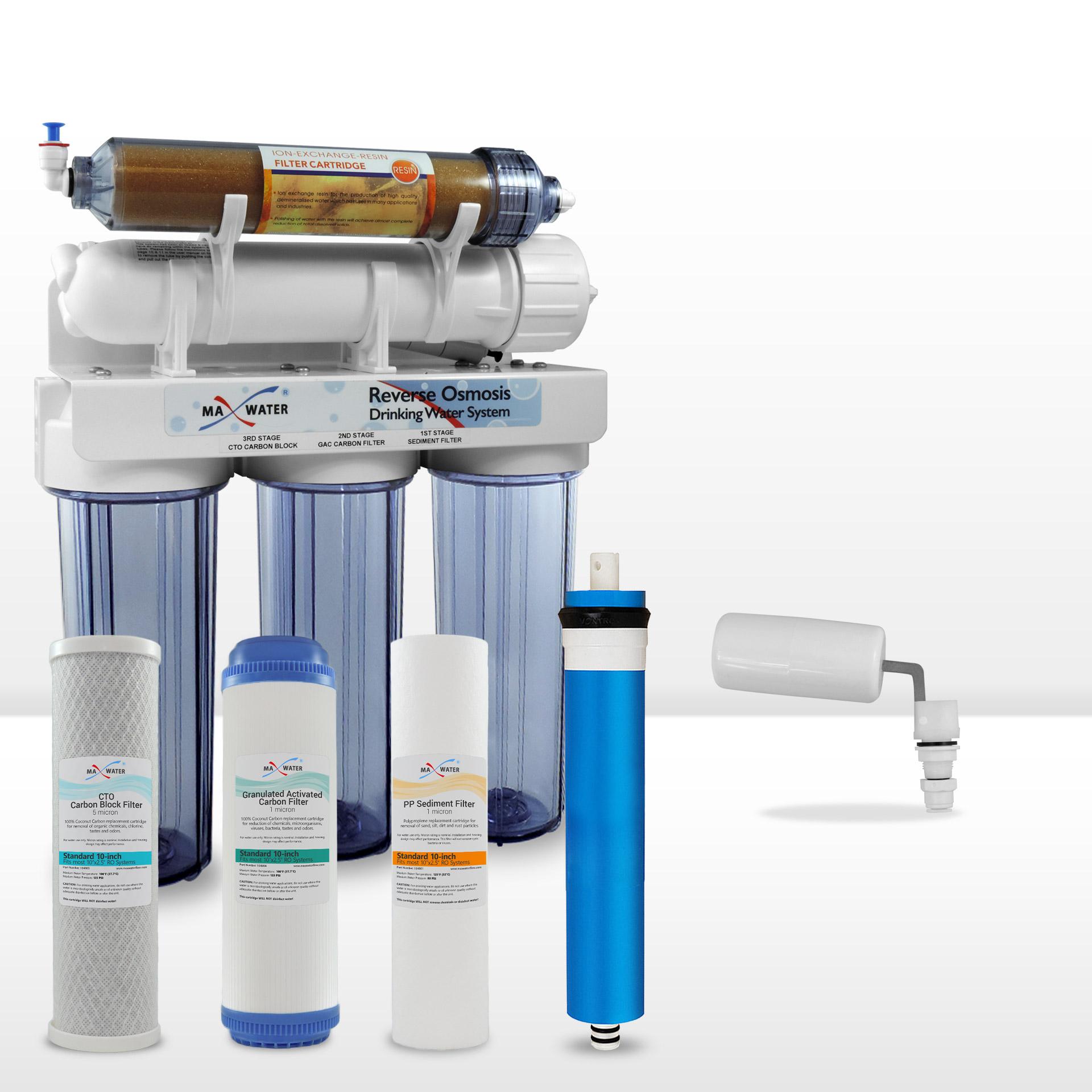 5 Stage 75 gpd Reef Aquarium RO DI Reverse Osmosis System Float Valve