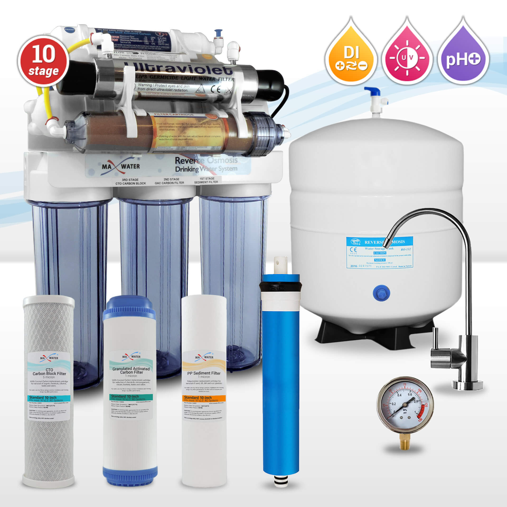 10 stage Alkaline Reverse Osmosis System with Ultraviolet Sterilizer