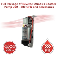 Full Package of Reverse Osmosis Booster Pump 200 - 300 GPD and accessories