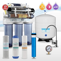 10-stage Alkaline Reverse Osmosis System with Ultraviolet Sterilizer (includes Philips UV Bulb)