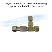 Adjustable flow restrictor with flushing option and build in check valve
