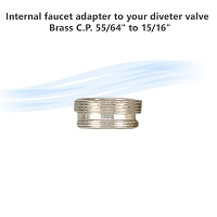 Internal faucet adapter to your diveter valve , Brass C.P. 55/64