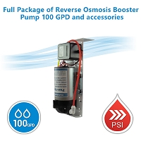Full Package of Reverse Osmosis Booster Pump 100 GPD and accessories