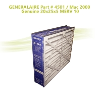GENERALAIRE Part # 4501 / Mac 2000  Genuine 20x25x5 MERV 10