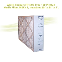 White-Rodgers FR1600 Type 100 Pleated Media Filter, MERV 8, measures 20