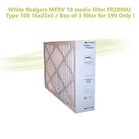 White Rodgers MERV 10 media filter FR2000U Type 108 16x25x5 / Box of 3 filter for $99 Only !