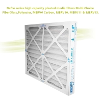 Dafco series high capacity pleated media filters  Multi Choice FiberGlass, Polyester, MERV6 Carbon, MERV10, MERV11 & MERV13.