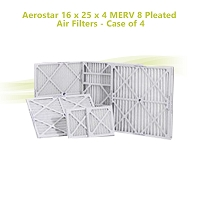 Aerostar 16 x 25 x 4 MERV 8 Pleated Air Filters - Case of 4