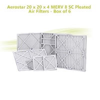 Aerostar 20 x 20 x 4 MERV 8 SC Pleated Air Filters - Box of 6
