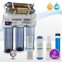 6-stage Aquarium Reverse Osmosis System RO DI with HM Inline TDS meter / 50-180 GPD