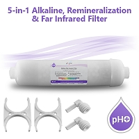 5-in-1 pH+ Alkaline/Far Infrared/Remineralization Filter with Clamps and Fittings (Non-refillable)
