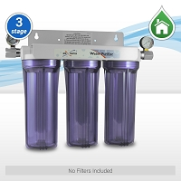 "3 Stage 10"" Standard Whole House Water Filtration System w/ 2 Pressure Gauges - No Filters Included"
