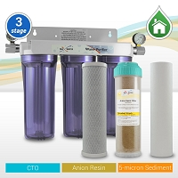 "3 Stage 10"" Standard Tannin/Nitrate Whole House Water Filtration System w/ 2 Pressure Gauges"