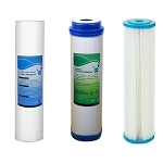 Water Filter Set (UDF Carbon GAC + Sediment Filters 5Micron + Pleated sediment  5Micron water filter) Size 10