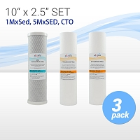 Water Filter Set (Carbon CTO + Sediment Filters 1Micron + 5 Micron) Size 10