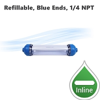 Refillable clear housing with blue ends, 10