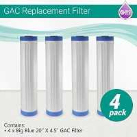 4 x Big Blue Granular Activated Carbon (GAC) Water Filter - size 20