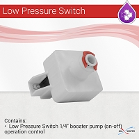 Quick type (push to connect) low Pressure switch for reverse osmosis booster pump protection