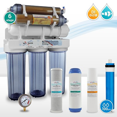 Aquarium Reef Coral Reverse Osmosis System - 100 GPD Pure 0 ppm RO/DI Water Filtration System