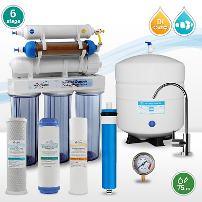 6-stage 75 GPD Dual Output, for dental autoclave machine,  Reef Aquarium & Drinking Reverse Osmosis Water System RO/DI