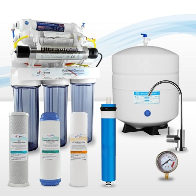 10-stage Reverse Osmosis System with UV Sterilizer, 4-in-1 Bio Ceramic, Far Infrared Mix Re-mineralization Water Filter
