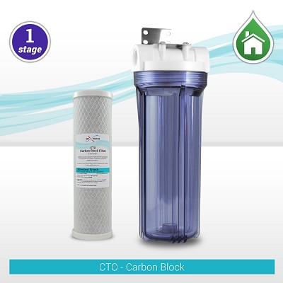 "1-stage 10"" Whole House CTO Carbon Block Filter with Clear Filter Housing - RV/Well/Boiler"
