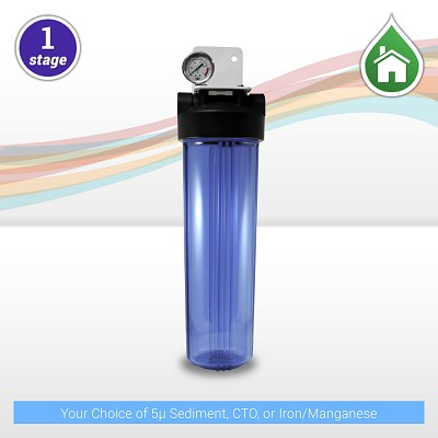 "1-stage 20"" x 4.5"" Big Blue Water Filter with Clear Housing and Pressure Gauge - 1"" NPT Ports"