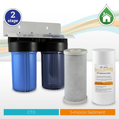 "2-Stage 10""x4.5"" Whole House Big Blue Water Filtration System"