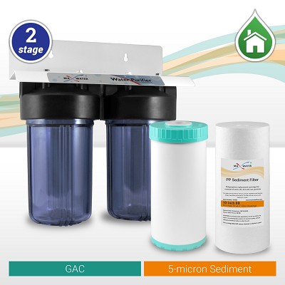"2-stage 10"" Clear Big Blue Sediment, GAC Filtration System - ¾"" or 1"" NPT Ports"