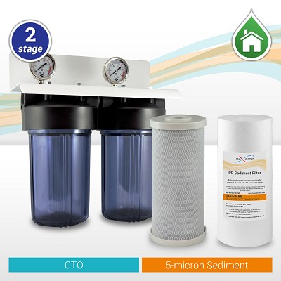 "Clear 10""x4.5"" BB 1"" or 3/4"" Port Whole House Water Filter System + Gauges+Ball valve"