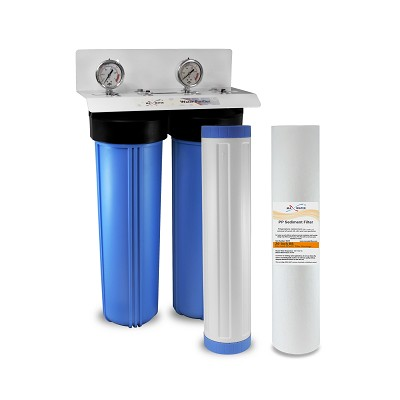 "2-stage 20"" x 4.5"" Big Blue Whole House Water Filtration System with 2 Gauges - ¾"" or 1"" NPT Ports"